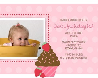 Sweet Cupcake Custom Photo Birthday Invitation