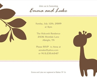 Gender Neutral Baby Shower Invitation : Printable Baby Shower Invitation - Giraffe Theme Baby Shower - Yellow and Brown