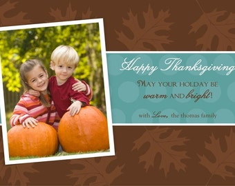 LEAVES...Custom Fall or Autumn Holiday Photo Cards...by KM Thomas Designs