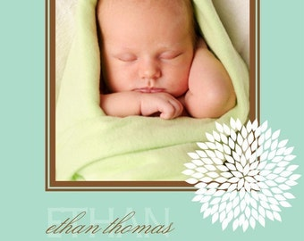 Baby Boy Birth Announcement - Blue Birth Announcement - Boy Photo Birth Announcement - Flower - Floral - Blue and Brown - BA108