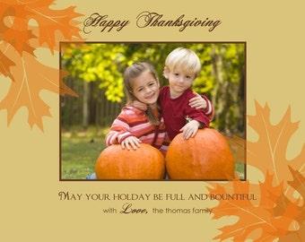 Festive Leaves Custom Photo Holiday Card or Birth Announcement