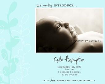Boy Birth Announcement : Baby Boy Photo Birth Announcement - Printable Photo Announcement - Blue Branches - Blue and Gray