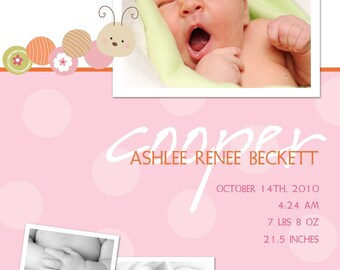 Bugaboo Baby - Custom Photo Birth Announcement