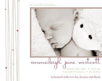 HEART STRINGS...Custom Photo Baby Announcement...by KM Thomas Designs