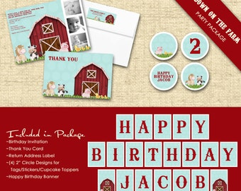 Basic Custom Printable Party Package...DOWN on the FARM Collection...Personalized...by KM Thomas Designs