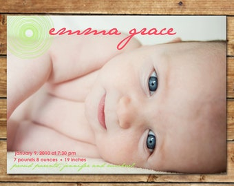 Photo Girl Birth Announcement - Baby Girl Announcement - Printable Photo Birth Announcement - Pink and Lime Green - Full Photo Announcement