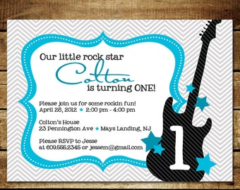 ROCKER BOY...Custom Printable Birthday Invitations...by KM Thomas Designs