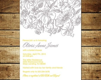 WILDFLOWERS...Custom Bridal or Baby Shower Invitation...by KM Thomas Designs