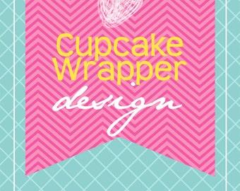 Custom Printable Cupcake Wrapper Design...by KM Thomas Designs