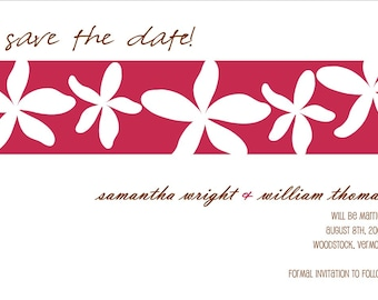 Printable Save the Date Card - Save the Date Announcement - Floral Save the Date - Custom Save the Date - Pink White Save the Date