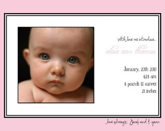 SIMPLY CLASSIC...Custom Photo Baby Announcement...by KM Thomas Designs