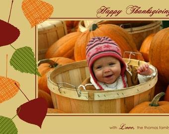 FALLING LEAVES...Custom Photo Fall or Thanksgiving Holiday Card...by KM Thomas Designs