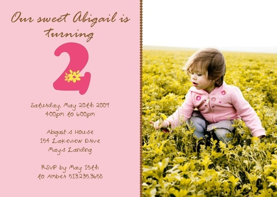 SWEET and SIMPLE...Printable Photo Birthday Invitations...by KM Thomas Designs