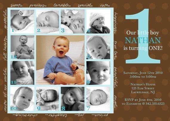 CHARMING...Custom Printable First Birthday Photo Invitation...by KM Thomas Designs