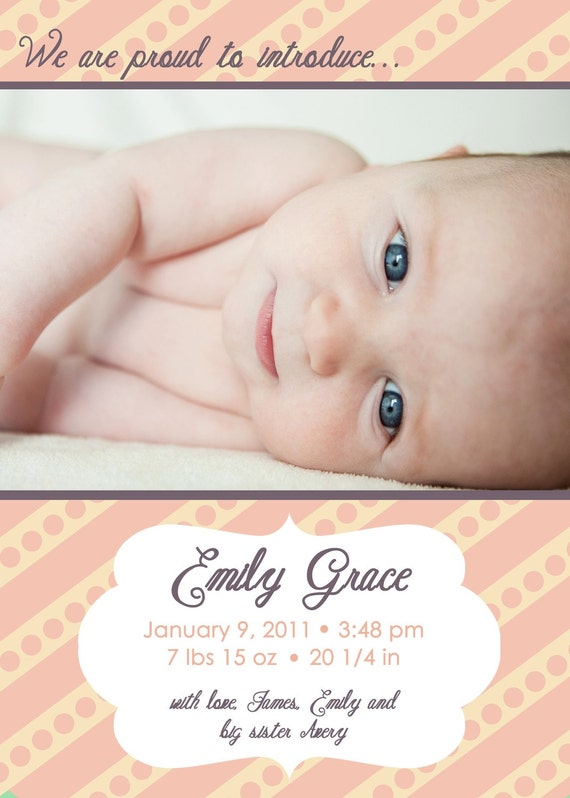 Girl Birth Announcement - Baby Girl Photo Announcement - Printable Birth Announcement - Peach and Plum - Polka Dot Stripes