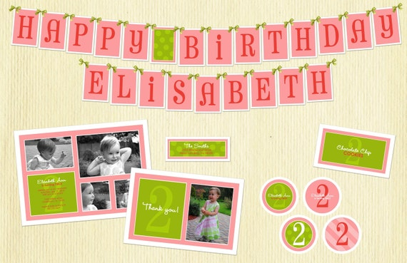 Deluxe Custom Printable Party Package...DELIGHTFUL COLLECTION...Personalized...by KM Thomas Designs