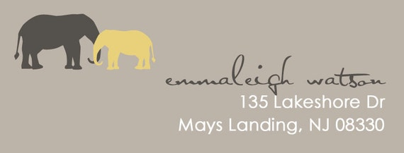 Modern Elephants Address Label Design