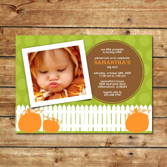 PUMPKIN PIE...Printable Custom Photo Birthday Invitation...by KM Thomas Designs