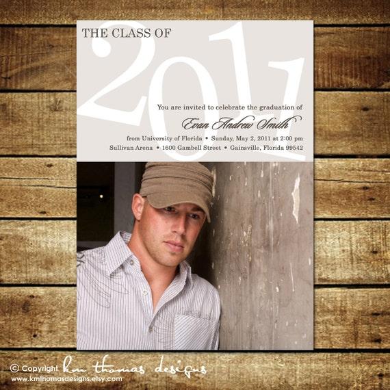 Graduation Photo Announcement - Photo Graduation Invitation - High School Graduation - College Graduation - Senior Class - Gray
