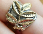 Wide band silver adjustable ring - Metalwork silver and brass floral ring - Olive Branch Ring - Sterling Silver peace ring