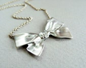 Big bow silver necklace - Bow sterling silver necklace - Bow Necklace Sterling Silver