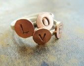 Sterling silver Copper hand stamped LOVE ring, rustic metalwork ring, personalized initial ring, stackable ring - sterling silver love rings