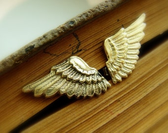 Angel Wings Studs brass - Brass and Silver Small Studs - Thor cosplay earrings - Halloween earrings - Gold Wing Studs - Unisex Wing Studs