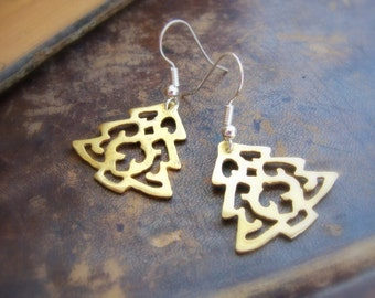 Christmas Tree brass earrings - Stocking stuffer jewelry for her