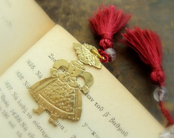 Victorian doll Girl charm - Metalwork necklace - Christmas Bookmark charm - Stocking stuffer