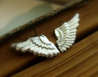 Wings sterling silver Studs - Thor earrings - Sterling silver metalwork earrings - Christmas Angel earrings - Halloween Jewelry