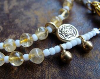 Double Wrap Tribal bracelet - brass citrine adjustable bracelet - Boheme gypsy bracelet - Primitive Nomad bracelet