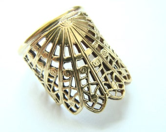 Armor Ring Brass - Sun Crown solid brass filigree ring - SunRing - Armor Ring