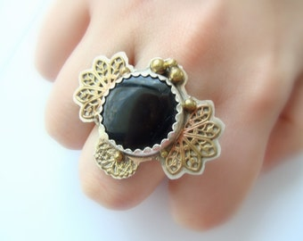 Onyx Sterling Silver Steampunk ring - silver and brass metalwork - three finger ring