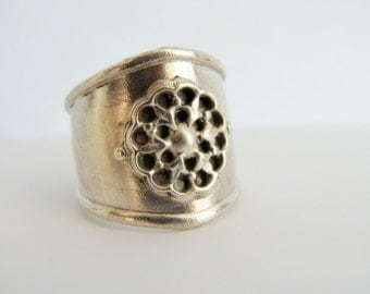 Armor Ring Sterling Silver - Wide Band Sterling Silver Ring - Adjustable Band Sterling Silver Ring