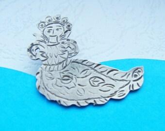 Mermaid Sterling Silver Brooch - Mermaid Sterling Silver  -  Mermaid Traditional Greek Jewelry - Mermaid Jewelry 925 - Skyros Jewelry