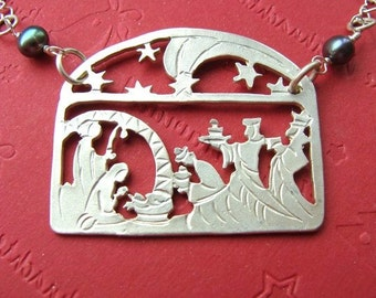 Nativity Scene Sterling Silver Necklace - CHRISTMAS NATIVITY Creche Jewelry - Child in MANGER - Baby Jesus Jewelry Sterling Silver 925