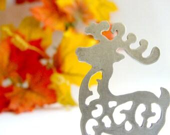 Reindeer sterling silver Brooch - christmas charm silver jewelry - Rudolph sterling silver jewelry