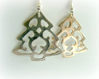 Christmas Tree earrings sterling silver jewelry - Metalwork christmas Jewelry - Christmas Gift for her