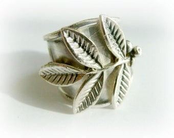 Floral Armor Ring wide band sterling silver - Sterling silver Adjustable ring - Olive Tree silver ring - Peace silver ring