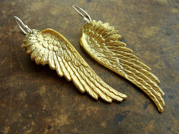 Gold Angel Wings Earrings - Wings brass handmade metalwork Earrings - Thor cosplay Wing earrings