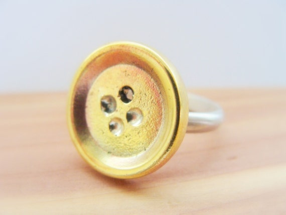 Button Ring - Metalwork brass and Silver Ring - Button Ring Sterling Silver - Cute Button Ring - Stocking Stuffer Jewelry