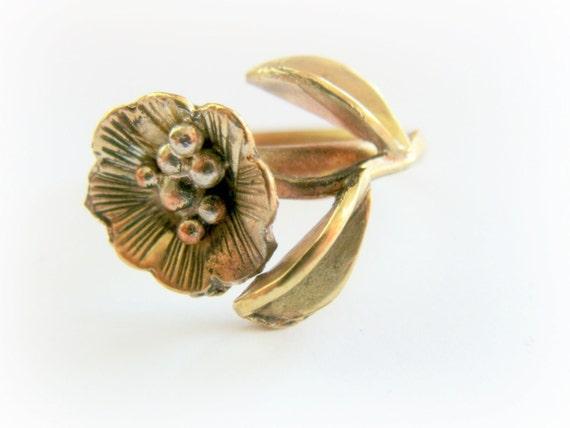Brass Flower Ring - Metalwork Solid Brass Ring - Gold Metalwork Flower Ring - Size 8 Flower Ring - Gold Flower Ring - Unique Flower Ring