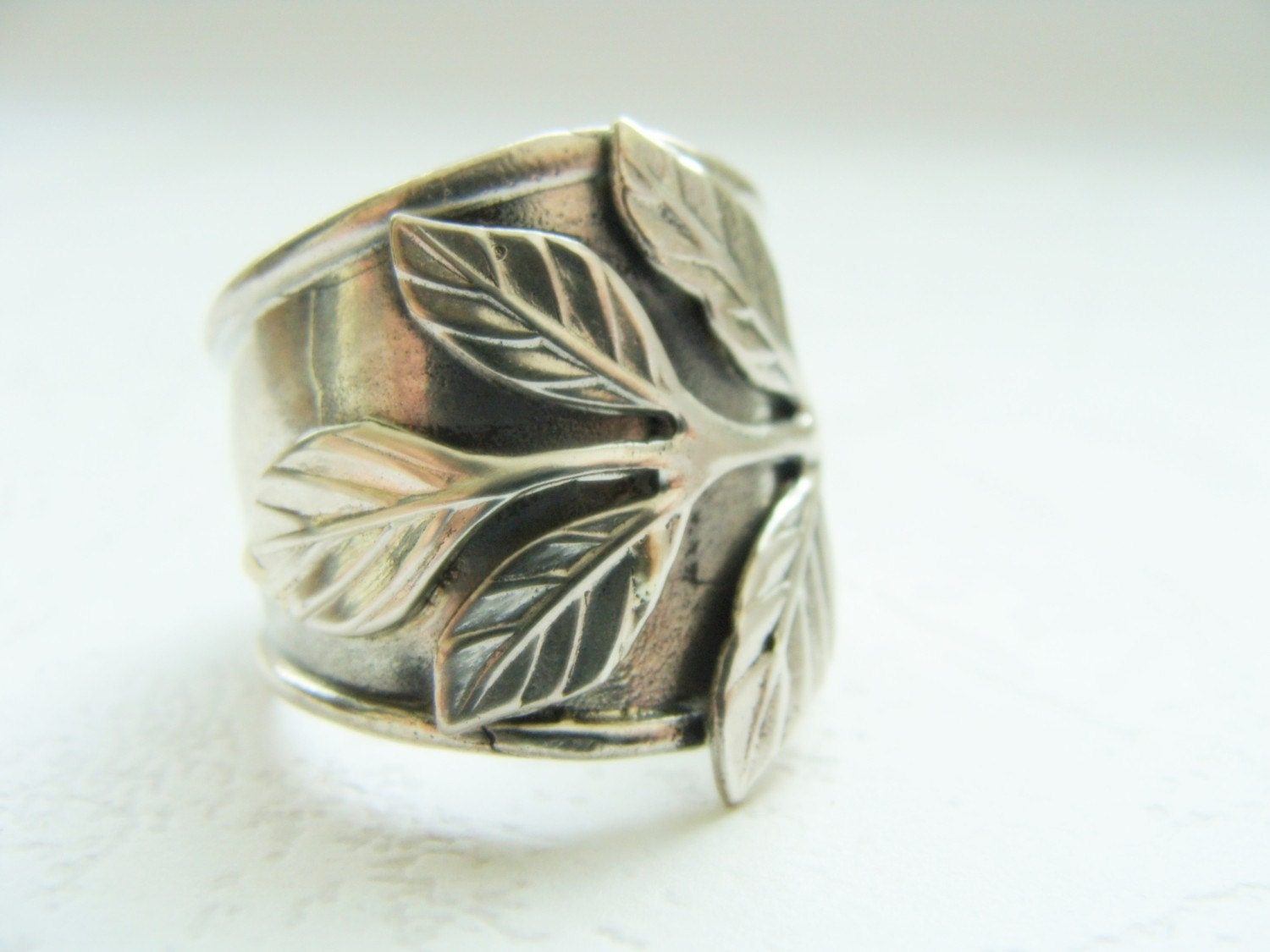 silver wide band flower ring sterling silver armor ring