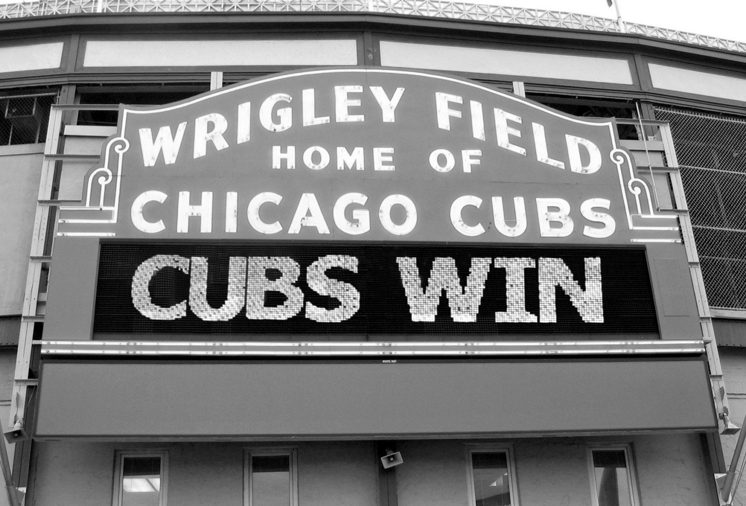 Chicago Cubs Wrigley Field Sign Black And White Photo Free Us