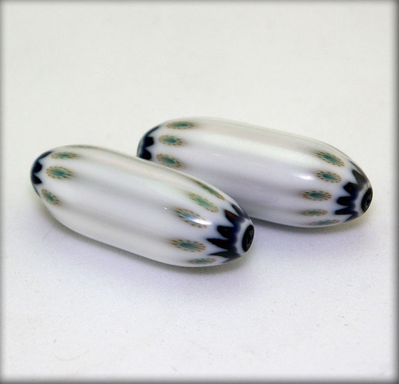 Pair of Early Seymour Whimsy Chevron Beads