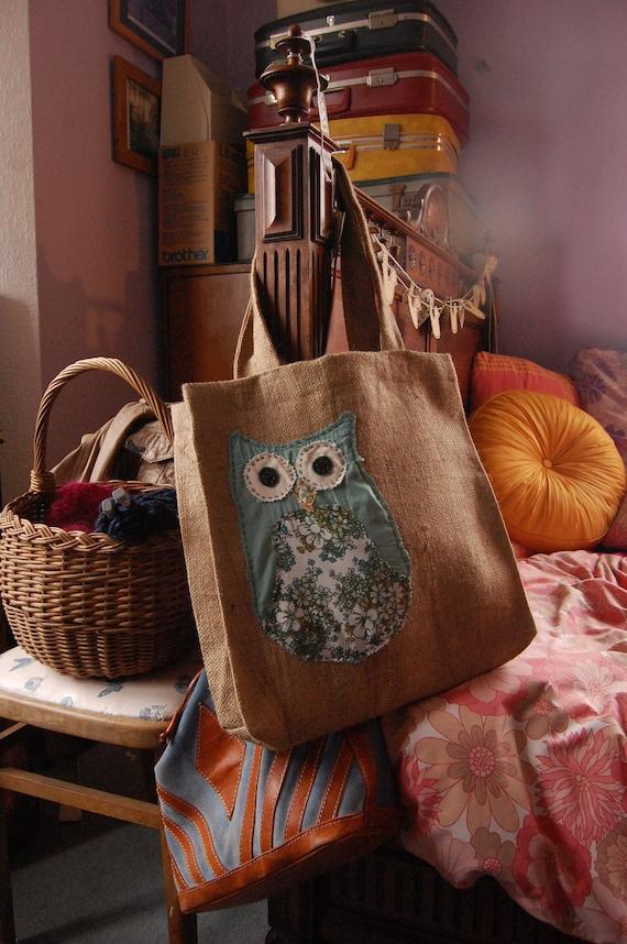 Oversized owl tote bag