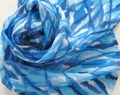 Silk Scarf - Wind - Hand Painted Ladies Scarves Blue Sapphire Sky Royal