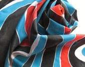 Silk Scarf - Jazz - Hand Painted Ladies Scarves Black White Turquoise Red Scarlet Blue Abstract