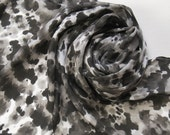 FREE SHIPPING Silk Scarf - Midnight - Hand Painted Ladies Scarves Black White Gray Grey Neutral Tie Dye