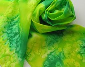 Silk Scarf - Lemon Lime - Hand Painted Ladies Scarves Green Chartreuse Yellow Bright Kelly